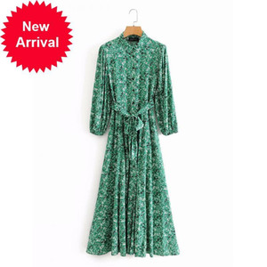 2021 New Design Brand of Vintage Female Green Flower Casual Rentals Dress Long Watch the Neck-neck Luxury Party Clothes Cryx