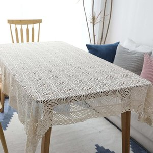 100 Algodão Tablecloth Tablecloth Chic Chic Vintage Tablecloth Mesa Rural Capa Handmade Algodão Lace Topper Topper SQCurc