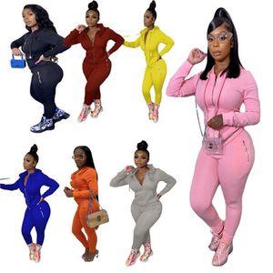 Las mujeres caen ropa de invierno traje jogger traje negro chaqueta de manga larga + pantalones de color sólido más tamaño Dos piezas Set de dos piezas Sudaderas 3844