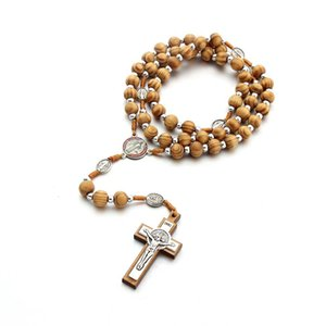 Wooden Bead Rosary Necklace Cross Crucifix Catholic Prayer Jesus Pendant Fashion Jewelry Long Chains for Men Women Kimter-X965FZ