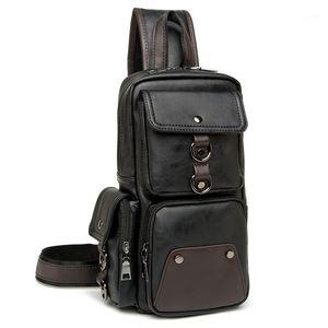 Leather Men Bag Casual Business Leather Mens Chest Bag Vintage Men's Small Shoulder Men's Handbags1