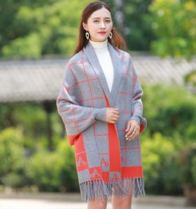 Long Travel Scarf Shawl double side dual-purpose Knitted pullover scarf women Lattices Splicing Travel Photo Square blanket