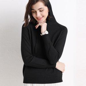 Weiche gestrickte Hoodies Loose Hooded Sweatshirt Frauen Pullover Fleece Solid Korean Casual Sport Hemd HW-MS