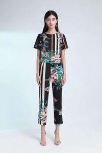 European leisure fashion suit women 2020 summer short-sleeved t-shirt pants slimming show high sports fashion two-piece suit