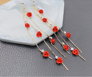 2020 new red rose embellish flash diamond super long tassel fashion earrings wedding bride accessories 377