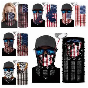 Skull Magic Scarves American Flag Bandana Half Face Mask National Flags Headband Turban Ski Camo Cycling Mask CYZ2948