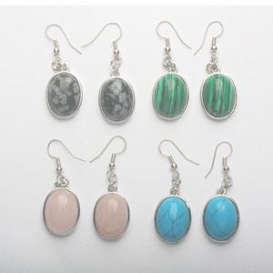 New Aventurine Malachites Clear Crystal Howlite Stone Rose Pink Quartz Opal Oval Inlaid Hook Dangle Earrings 1 Pair