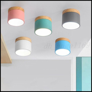 DHL Nordic Iron Wood Ceiling Lights Modern Led Ceiling Lamp For Living Room Bedroom Luminaire Porch Aisle Corridor Lighting Fixtures