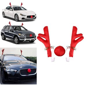 Reindeer Christmas Decor Car Vehicle Nose Horn Costume Set Christmas Car Reindeer Antlers & Red Nose Xmas Decoration Kit