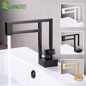 LANGYO Black White Gold Basin Faucet Bathroom Mixer Tap Brass Square Vessel Sink Tap Single Handle Deck Mounted Hot&Cold Water