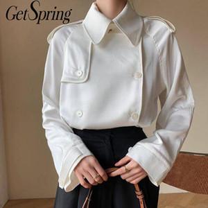 Getspring Women Shirt White Vintage Woman Blouses Shirts Long Sleeve Casual Loose Women Tops Bloues 2020 Fashion Autumn Tops