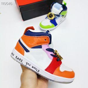 2020 1 1S Melodía media Ehsani Treyless Kids Basketball Zapatos de baloncesto para niños Sneakers Sneakers Cuero verde naranja Bebé entrenadores Zapatos Tamaño 26-35