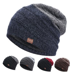 Cozy Hedging Hat Chenille Woolen Plus Velvet Thickening Warm Fahion Sports Slouchy Loose Cap Adjustable Unisex Party Knitted Hats YL0174