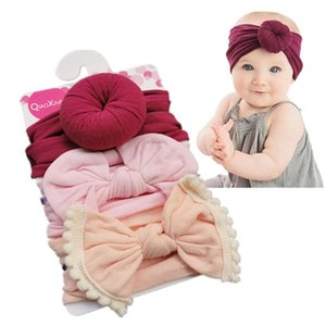 Baby Girls Knot Ball Donut Headbands Bow 3pcs set Infant Elastic Hairbands Children Knot Headwear kids Hair Accessories BWA2797