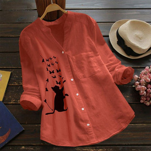 Funny Cat Fish Blouse Women Cotton Linen Printed Button Down Shirt Long Sleeve Stand Collar Blouse Chemisier Femme Women Blouses