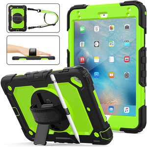 Shoulder Hand Strap Hybrid Heavy Duty Case With Screen Protector For iPad Mini 4 5 7 8 10.2 Air Air4 10.9 Pro 10.5 11 2020 Samsung T500 T290