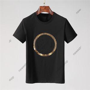 2021 Yeni Yaz Tasarımcısı Erkek Tshirt Nakış Sequins Daire Büyük Mektup Baskı Rahat T-shirt Kadınlar Lüks T Gömlek Elbise Tee Tops