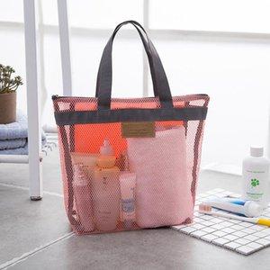 Portable Mesh Transparent Toiletry Handbag Large Capacity Cosmetic Organizer Bags Outdoor Travel Beach Bag Makeup Tote Bag BED3362