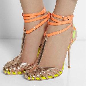 Cinta de cuero Sandalias Sexy Sandalias Glistening Patchwork Señoras Gladiador Multi Solucionado Colas Ocus Out T-Strap High-Jump Zapatos Sandalia XAEP