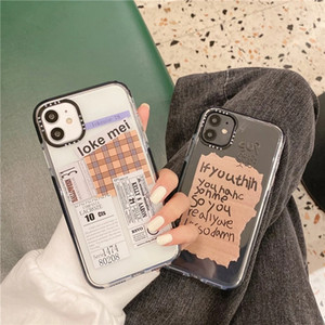Retro-Aufkleber-Label-Telefonkasten für iPhone 12 mini pro max 11 x x xr se 7 8 plus weiche BOVE klare Fälle