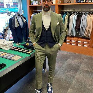 Winter Green Tweed Formal Mens Pants Suits Plus Size Two Button Groom Best Man Coat Business Wedding Blazer (Jacket+Pants)