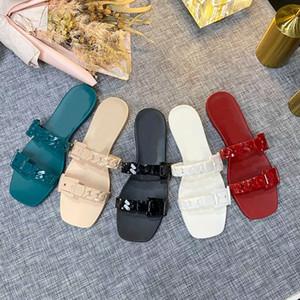 Hochwertige Designerschuhe! Modische Geleefarbe PVC Dicke Kette Flache Boden Hausschuhe Luxus Badezimmer Strand Damenschuhe Sandalen Box 3