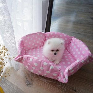 Respirant Dog Polka Dot Kennel Lavable Dual-Usage Dual-Usage Tapis mignon Chippy Chaton Chaton Petit Lit de couchage Unique Cat Nid Pink Pet fournitures
