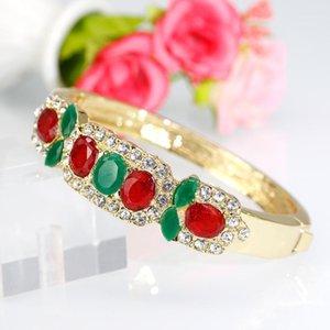 Sunspice-MS Moda Altın Renk Kristal Bileklik Kadınlar Için Dubai Düğün Takı Etnik Manşet Bilezikler Rhinestone Bijoux1