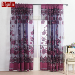 Brand Embroidered Tulle Curtain For Living Room Voile Curtain Window Screening Balcony Finished Burnout Flower Tulle New1