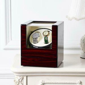 2 Slot Watch Winder Automatic Rotation Wood Display Case Storage Organizer NEW