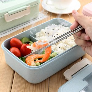 Wheat Straw Lunch Boxes Double Portable Environmental Protection Student Bento Box Microwave Heating Box Food Storage Containeres