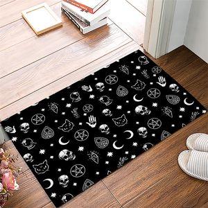 Cadılar bayramı Siyah Cadı Kafatası Desen Banyo Halıları Paspas kaymaz Kapı Mat Halı Banyo Aksesuarları Özelleştirilebilir T200415