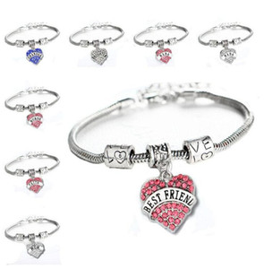 45 types Diamond Love Heart Bracelet Mom Aunt Daughter Grandma Believe Hope best friends Crystal Bracelet Will and Sandy Drop Ship GD948