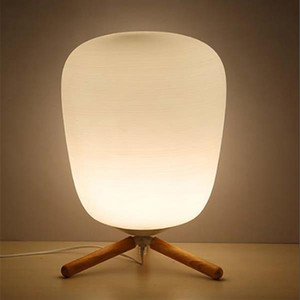 E27 Ultra Modern Mini Fashion Frosted Glass Lampshade and Wooden Bracket Texture Study Table Lamp with Light Source US Plug