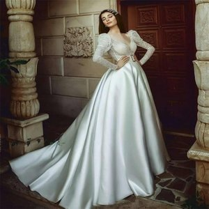 Chic V-neck Wedding Dresses Long Sleeves Lace Applique Ruched Satin Boho Wedding Dress Sexy High-split Sweep Train Custom Made Bridal Gowns