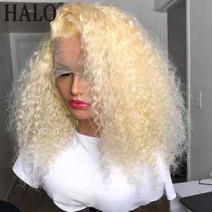 613 Blonde afro kinky curly synthetic Lace Front Wigs Pre Plucked Brazilian Lace Wigs For Black Women 180% Density