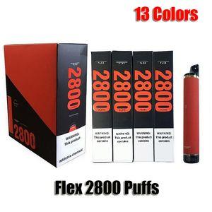 Flex 2800 Puffs Disposable Pod Device 1500mAh Battery Prefilled 10ml Cartridge Vape Empty Pen Vs Bar XXL Plus Flow Max