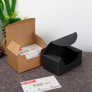 300pcs / lot Black Brown Brown Kraft Box, regalo Kraft Business Biglietto da visita scatola di imballaggio 93 * 57 * 40mm