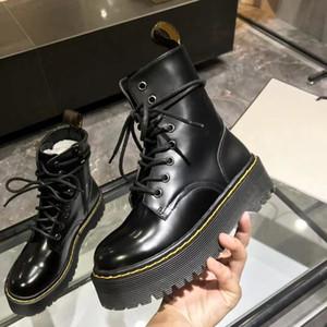 Черный гладкий Джадон Мартин сапоги женские пинетки платформы Новые толстые дикие дышащие британские ветротурбины короткие сапоги женские ботинки