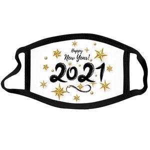 Feliz Año Nuevo Diseñador Mascarilla Cara Chrismas Mascarillas Fiesta Reutilizable Lavable Mascarilla Reutilizable Protección impresa digital Mascarillas de algodón EWF3407