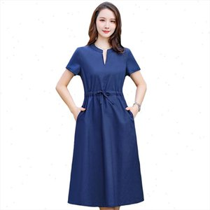 New Vintage V Neck Summer Dress Women Casual Linen Streetwear Office Ladies Dress Elegant Slim Midi Plus Size Vestidos