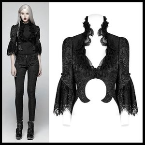 Women Gothic Black Short Sleeve Jacquard Dress Coat Victorian Retro Lace Jacket Fashion Evening Party Short Jacket