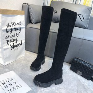 Women Over the knee Boots 2020 Autumn Fashion Shoes High Platform Stretch Cloth Sock Boots Women Black Flock Thigh High
