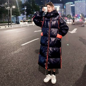 Women's winter down jacket long-length kneepads down coat loose thick warmth contrast color hooded jacket fashion bread cotton-padded coats
