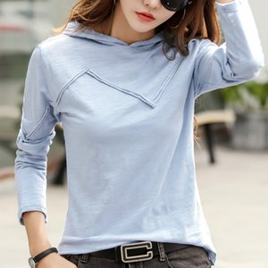 Long Sleeve T-shirt Hooded Women's Cotton Tshirt Spring Autumn Hoodies Fashion Casual Hooded Tops S M L XL 2XL 3XL