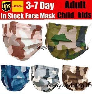 Camouflage Disposable Face Masks with Elastic Ear Loop 3 Ply Breathable for Blocking Dust Air Anti-Pollution Mask FY0208