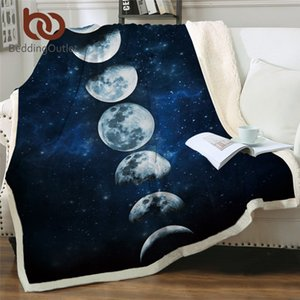 BeddingOutlet Moon Eclipse Changing Velvet Plush Throw Blanket Galaxy Printed Sherpa Blanket for Couch Landscape Bedding Throw 201113