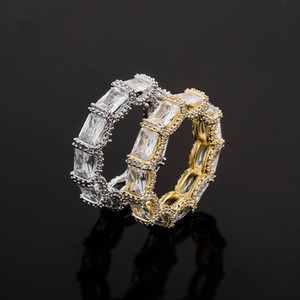 Cubic Zirconia Rings Mens Luxury Hiphop Gold Jewelry Full Diamond Iced Out Hip Hop Ring Cool Rapper Jewellery