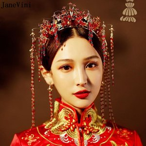 Janevini Classical Chinese Style Wedding Rojo Rojo Horquillas Tocado Tocado Crown Crown Band Band Brides Pelo Joyería Accesorios