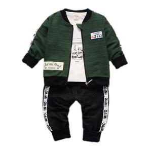 Boys Girls Ropa Set Fall Infantil Bebé Manga larga Camiseta + Coat + Pantalones 3pcs Outfits Toydler Childern Casual Traje A0078 201127